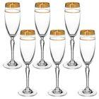 """Набор бокалов для шампанского 160 мл """"Люция. Широкое золото + бесцветная волна"""", 6 шт"""