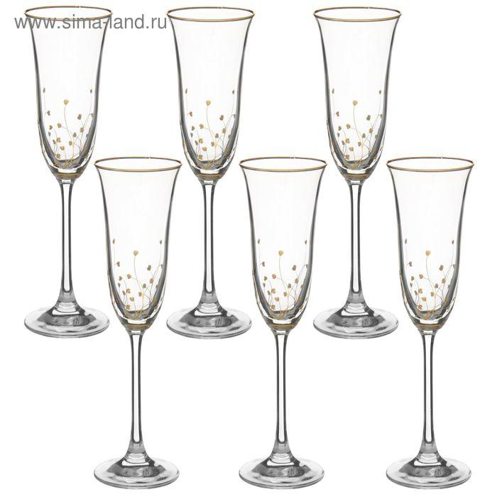"""Набор бокалов для шампанского 160 мл """"Травка"""", 6 шт"""