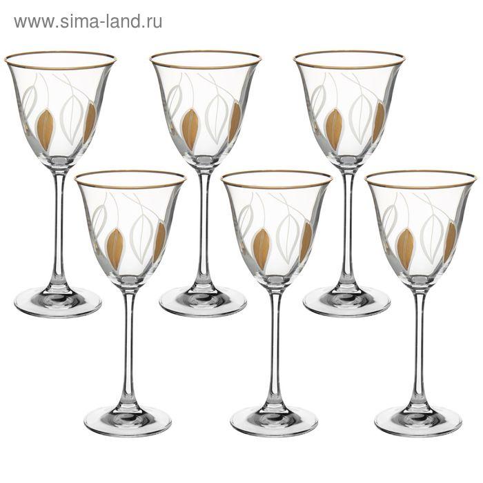 """Набор бокалов для вина 190 мл """"Флора. Золотые листья"""", 6 шт"""