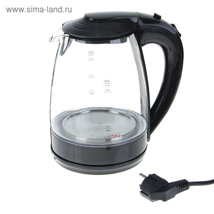 Чайник электрический LuazON LSK-1702, 2200 Вт, 1.7 л, стекло, чёрный