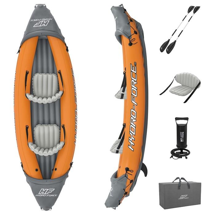 Байдарка Lite-Rapid X2 Kayak, 2 местная, вёсла 218 см, до 160 кг, 321 х 88 х 48 см, 65077 Bestway