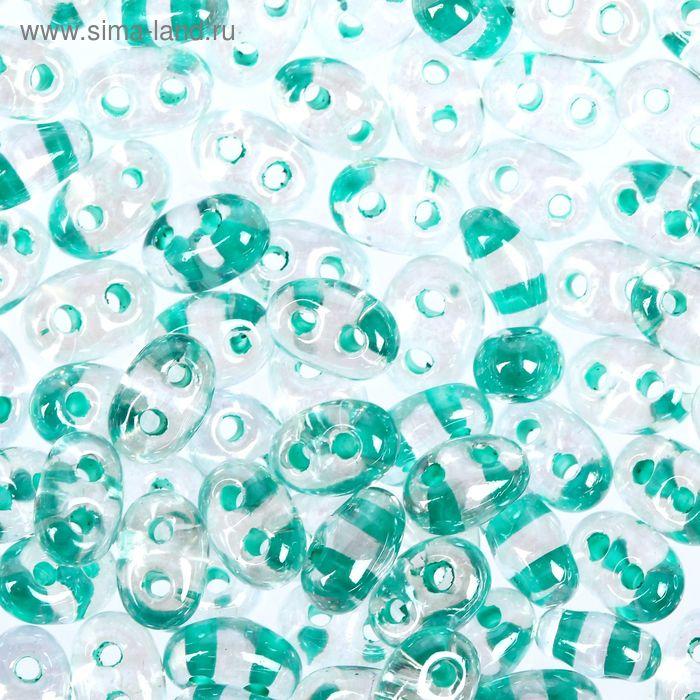 """Бисер """"GAMMA"""" 2,5х5мм (Т110 прозрачный/зеленый)"""