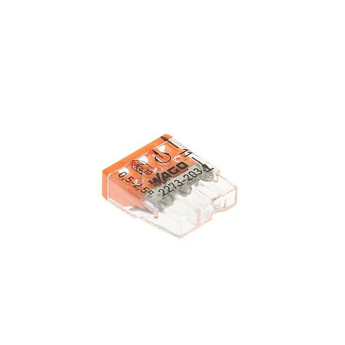 Клемма WAGO 2273-203, компактная, трехпроводная, сечением 2.5 мм, одножильная, набор 100 шт