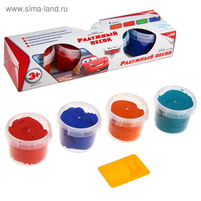 """Набор для лепки """"Радужный песок. Тачки"""", 4 цвета по 140 г + формочка"""