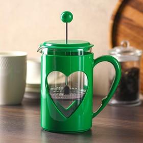 Френч-пресс Доляна «Комплимент», 800 мл, цвет зелёный