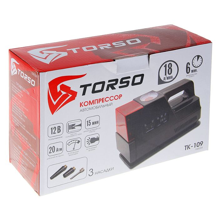 Компрессор автомобильный TORSO TK-109, 12 А, 18 л/мин, красный фонарь, провод 3м, шланг 65см