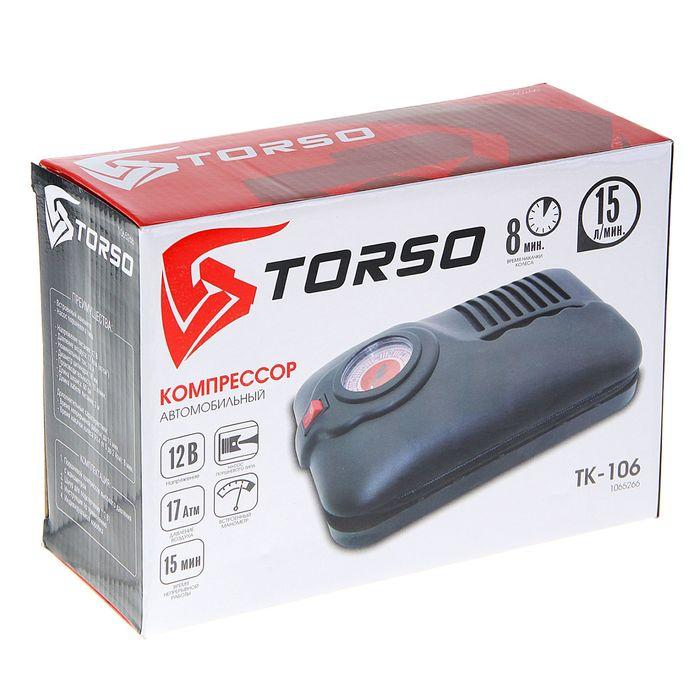Компрессор автомобильный TORSO TK-106, 10 А, 15 л/мин, провод 3 м, шланг 60 см