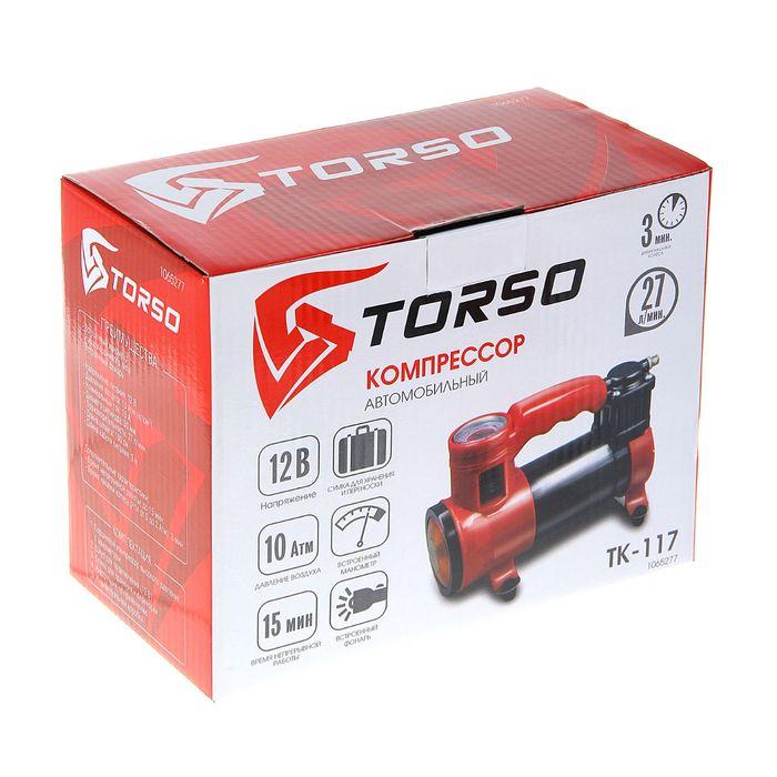 Компрессор автомобильный TORSO TK-117, 15 А, 27 л/мин, провод 3 м, шланг 1 м