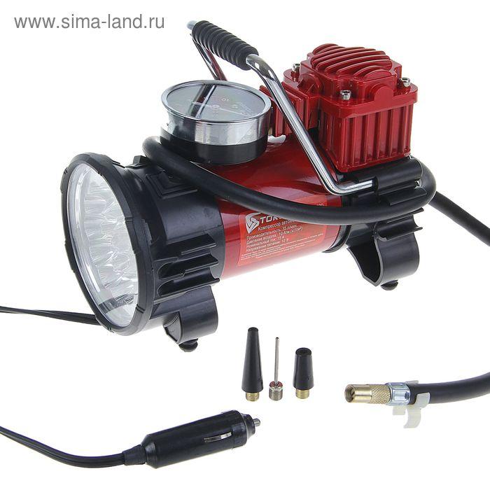 Компрессор автомобильный TORSO TK-120, 15 А, 35 л/мин, провод 3м, белый фонарь LED, шланг 1м