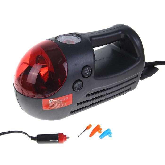 Компрессор автомобильный TORSO TK-108, 10 А, 18 л/мин, красный фонарь, провод 3м, шланг 65см