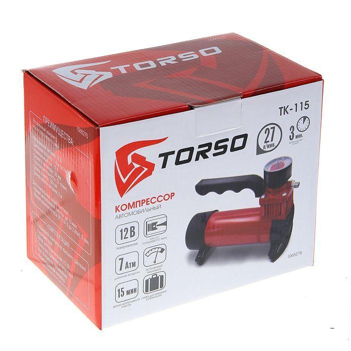 Компрессор автомобильный TORSO TK-115, 12 А, 27 л/мин, провод 3 м, шланг 1 м