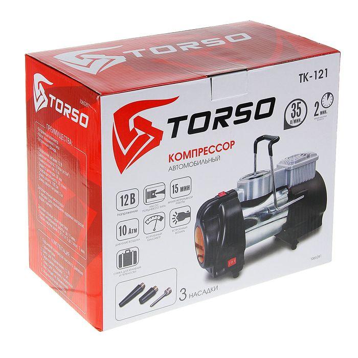 Компрессор автомобильный TORSO, TK-121, 15А, 35 л/мин, провод 3м, жёлтый фонарь,шланг 1м