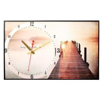 """Часы настенные, серия: Природа, """"Пирс на озере"""", 37х60  см, микс"""