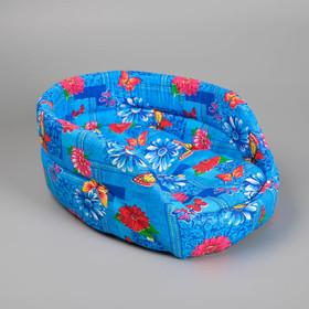 Лежак овальный с бортиком 38 х 25 х 14 см микс цветов Ош