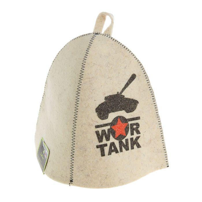 Шапка для бани и сауны с принтом War tank, белая
