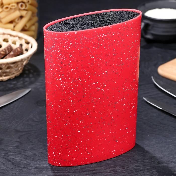 Подставка для ножей «Зефир», 16×7 см, с наполнителем, цвет красный