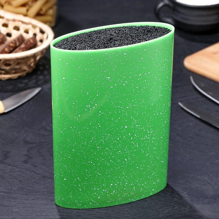 Подставка для ножей «Зефир», 16×7 см, с наполнителем, цвет зелёный