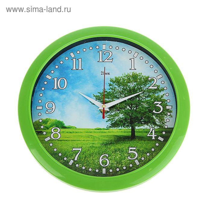 """Часы настенные круглые, """"Дерево на лугу"""", зеленое кольцо, 30 см"""