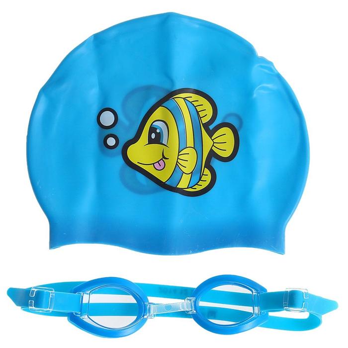 Набор для плавания, шапочка + очки, от 3 лет, цвета МИКС, 26026 Bestway