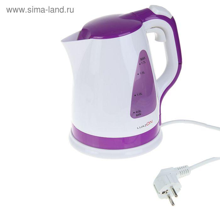 Чайник электрический LuazON LPK-1703, 2200 Вт, 1.7 л, бело-фиолетовый