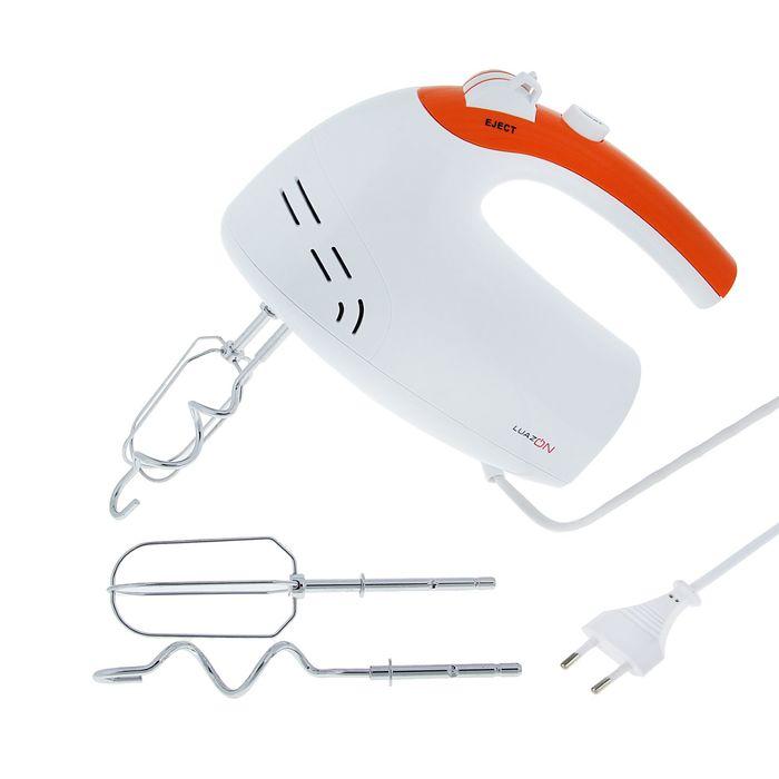 Миксер электрический LuazON LMR-01, 250Вт,  бело-оранжевый