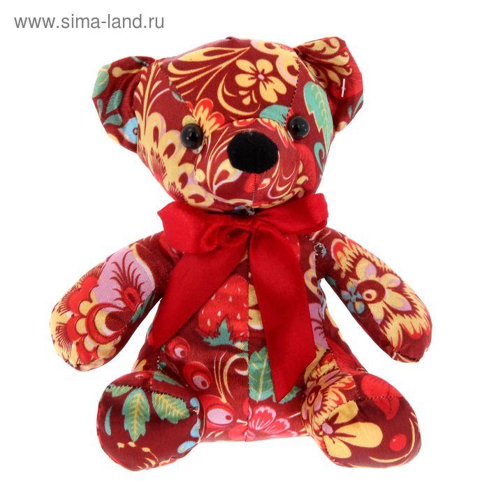 Мягкая игрушка Мишка-хохлома с бантиком 16см