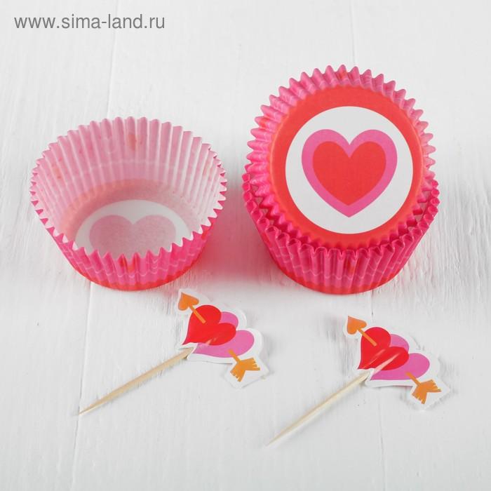 """Украшение для кексов """"Сердце"""", набор 24 пики, 24 формочки"""