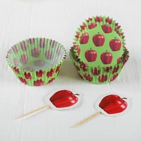 Украшение для кексов «Яблоко», набор 24 пики, 24 формочки