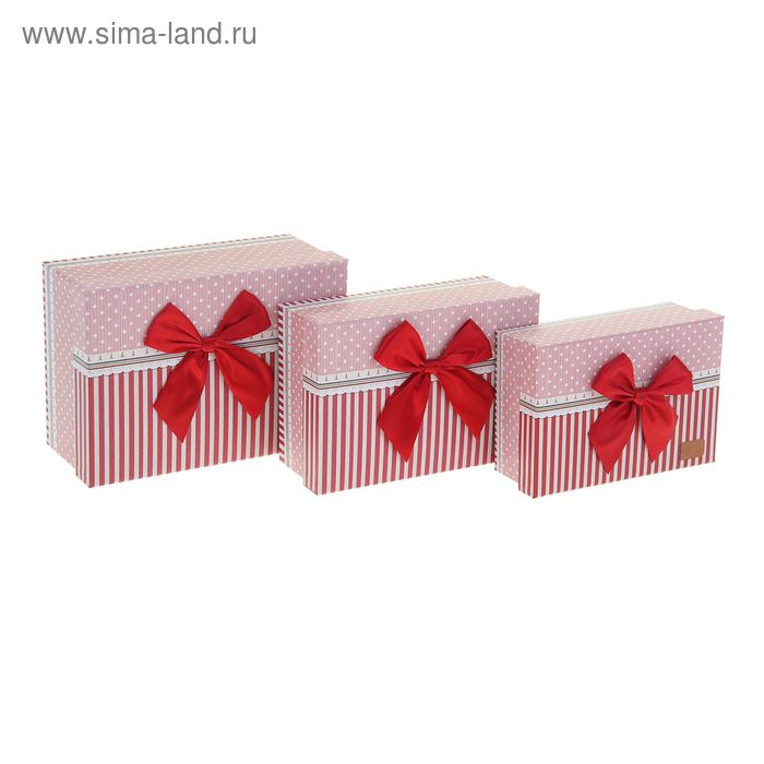 """Набор коробок 3в1 """"Полоска"""", цвет красный"""