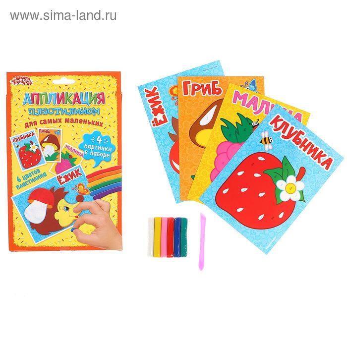 """Аппликация пластилином """"Грибы и ягоды"""" для самых маленьких, 4 картинки + 6 цветов пластилина по 10 г"""