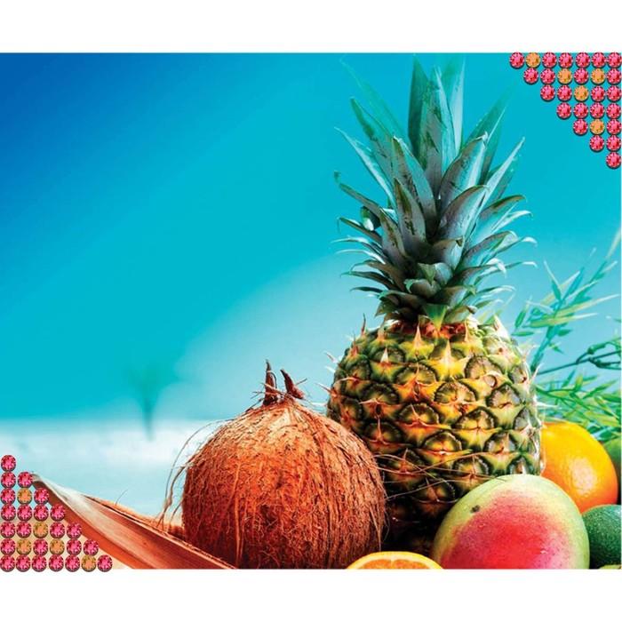 """Алмазная вышивка круглыми стразами с частичным заполнением """"Тропические фрукты"""" 36 х 28 см"""