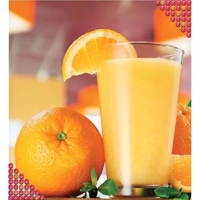 """Алмазная вышивка круглыми стразами с частичным заполнением """"Апельсиновый сок"""" 27 х 40 см"""