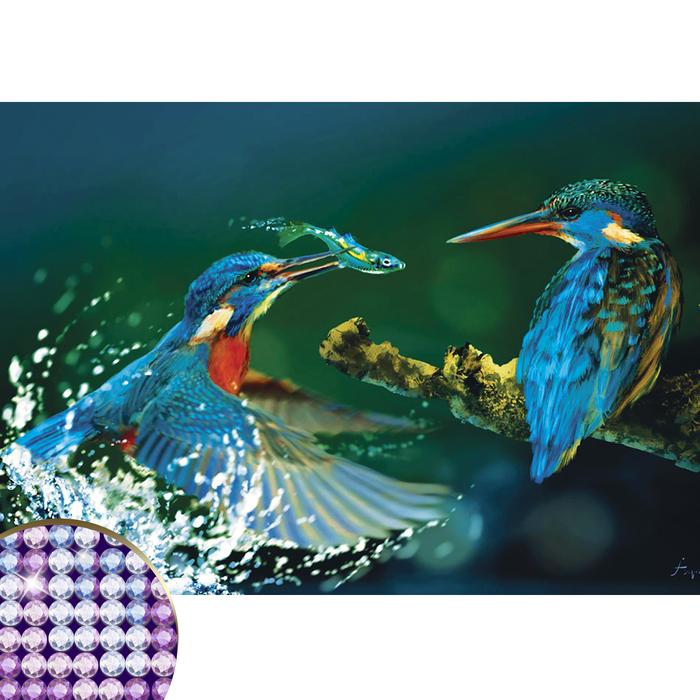 """Алмазная вышивка круглыми стразами с частичным заполнением """"Птицы"""" 34 х 50 см"""