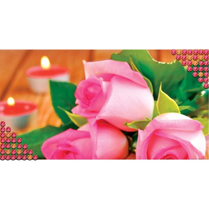 """Алмазная вышивка с частичным заполнением """"Розы"""", 40 х 27 см"""