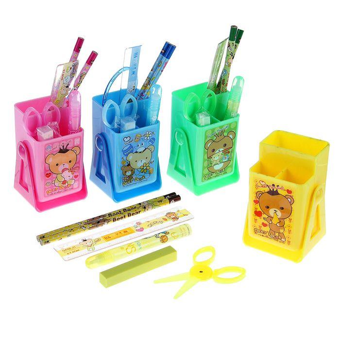 Набор наст детский Мишки МИКС 7пред (2кар+лин+ножн+клей+ластик,подставка)