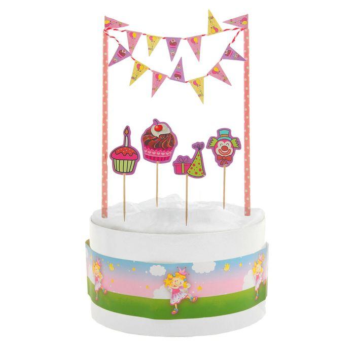 """Набор """"Праздник"""": 1 гирлянда, 4 пики, 1 лента для торта"""