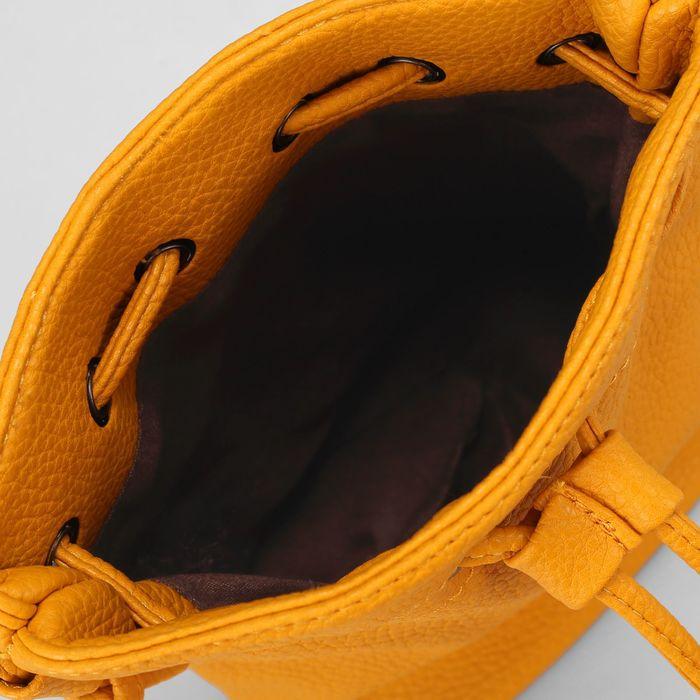 Сумка женская, 1 отдел, длинный ремень, цвет жёлтый