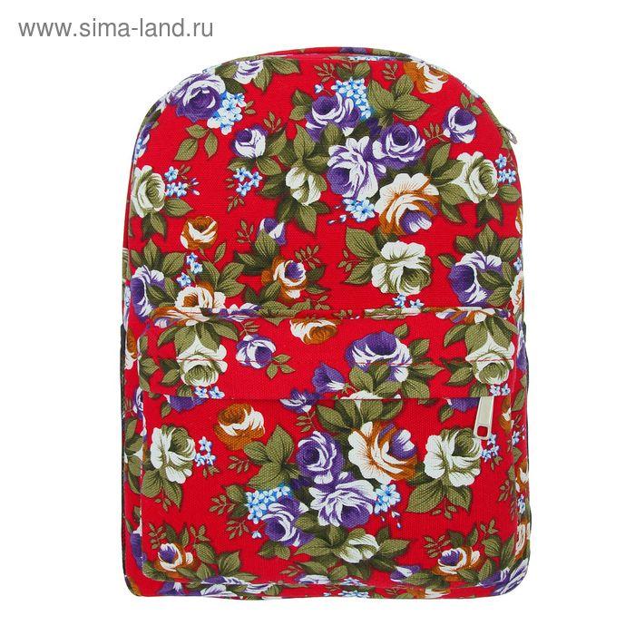 """Рюкзак детский """"Цветы"""", 1 отдел, 1 наружный и 2 боковых кармана, бордовый"""