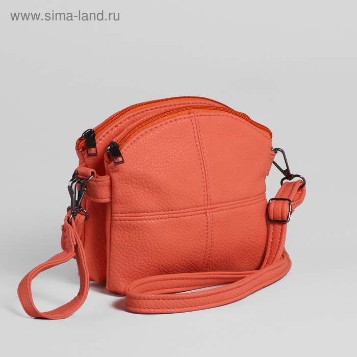 Сумка женская, 1 отдел, длинный ремень, оранжевый