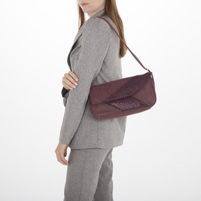 Сумка женская, 1 отдел, наружный карман, цвет бордовый