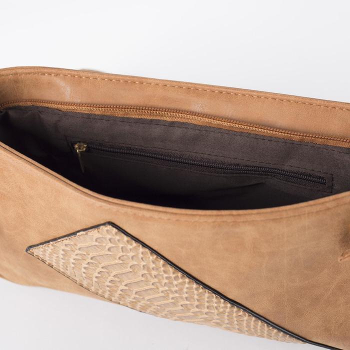 Сумка женская, 1 отдел, наружный карман, регулируемый ремень, цвет коричневый