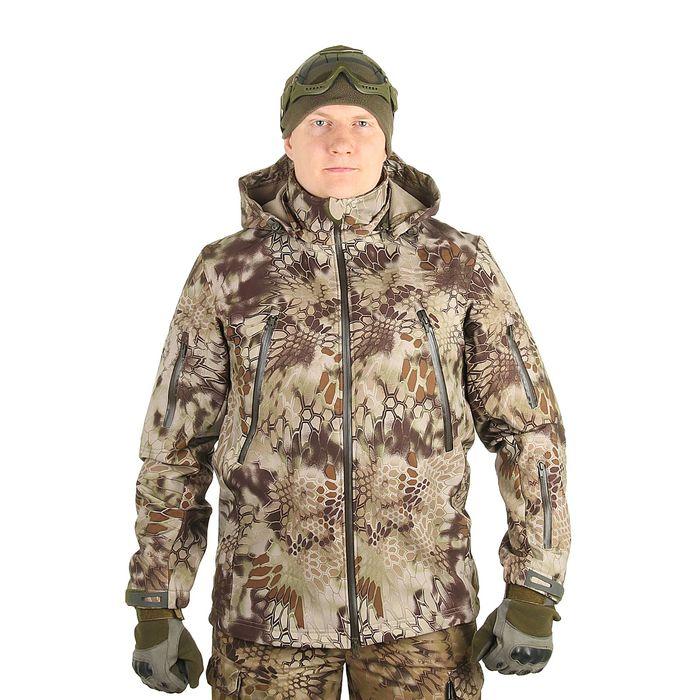 Куртка с капюшоном для спецназа демисезонная МПА-26 (тк.софтшелл) КМФ питон скала (54/4)