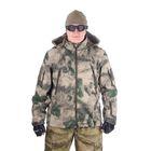 Куртка для спецназа демисезонная с капюшоном МПА-26-01 (тк.софтшелл) КМФ мох (50/5)