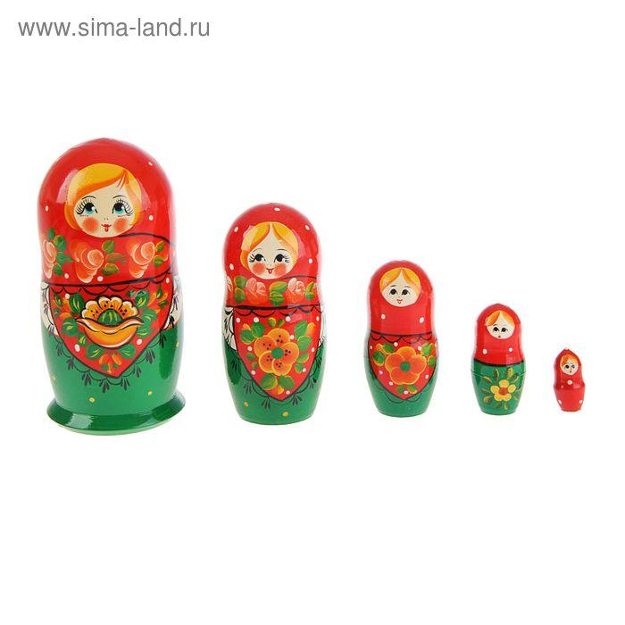 """Матрешка """"Маки"""" зеленое платье с маками, красный платок , 5 кукол, художественная"""