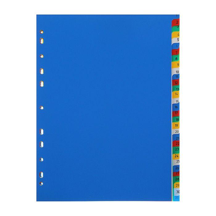 """Разделитель листов А4 """"1-31"""" пластиковый цветной"""