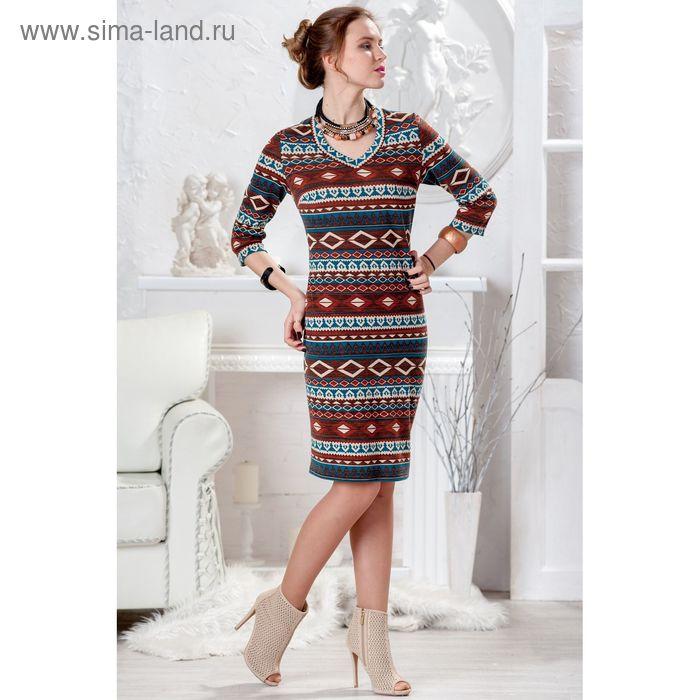 Платье женское, размер 52, рост 164 см, цвет коричневый МИКС/ромб (арт. 4428 С+)