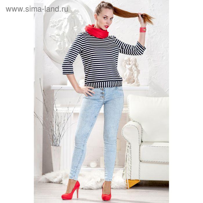 Блузка женская, размер 50, рост 164 см, цвет тёмно-синий/белая полоска (арт. 4415 С+)