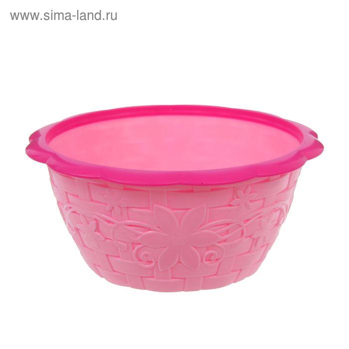 """Салатник с ободком 1,2 л """"Плетёнка"""", цвет розовый"""