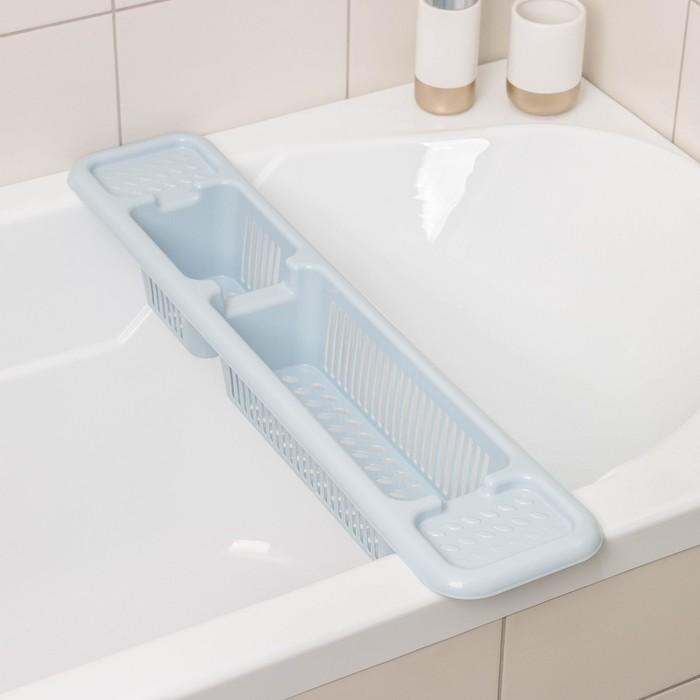 Полка на ванну Альтернатива, 71×15×10 см, цвет голубой