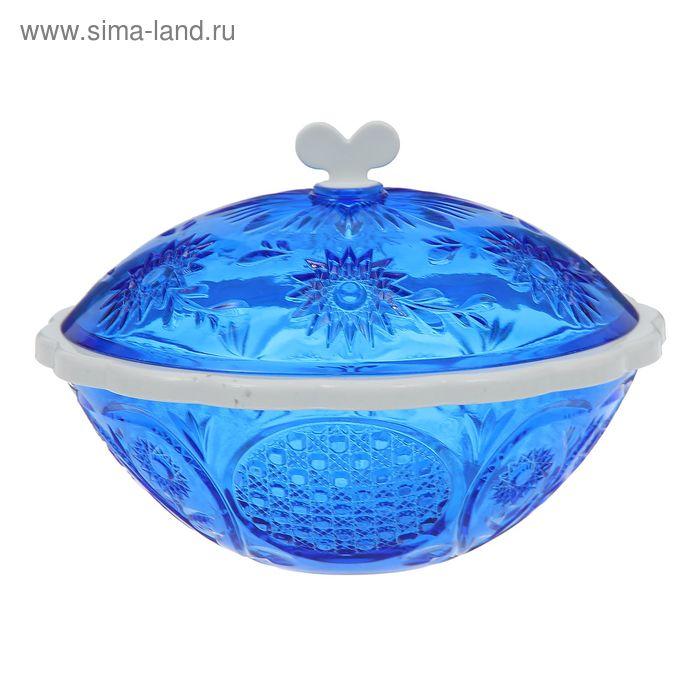 """Сахарница с крышкой 500 мл """"Хрусталь"""", цвет синий"""